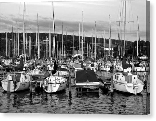 Jibbing Canvas Print - Marina In Black And White by Frozen in Time Fine Art Photography