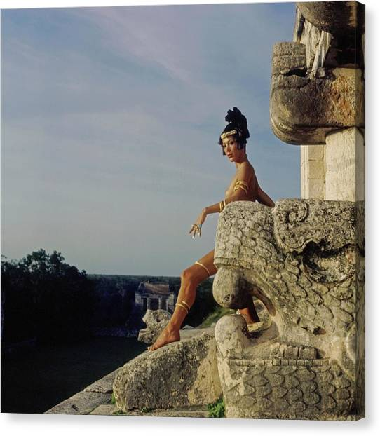 Marina Schiano Wearing Gold Snake Bands Canvas Print by Henry Clarke