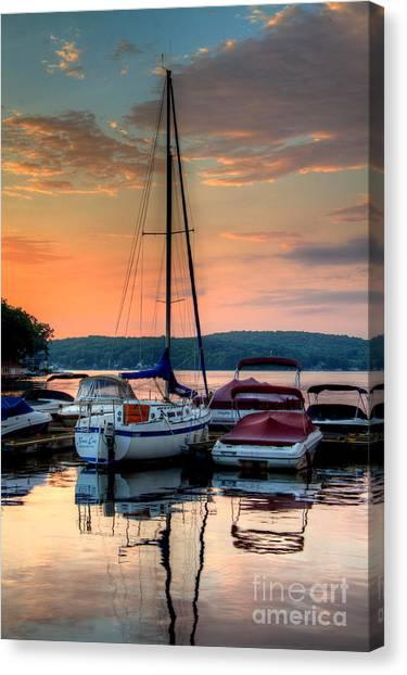 Marina Sunrise Canvas Print by Craig Holquist