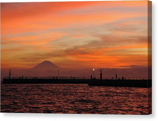 Mount Fuji Canvas Print - Marine Day Sunset by Aaron Bedell