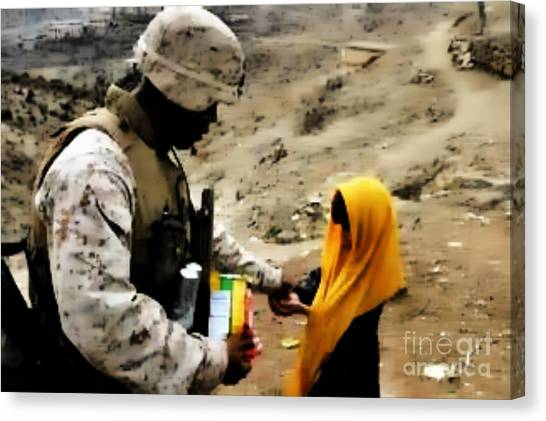 Marine Gives Afgan Girl Candy Canvas Print