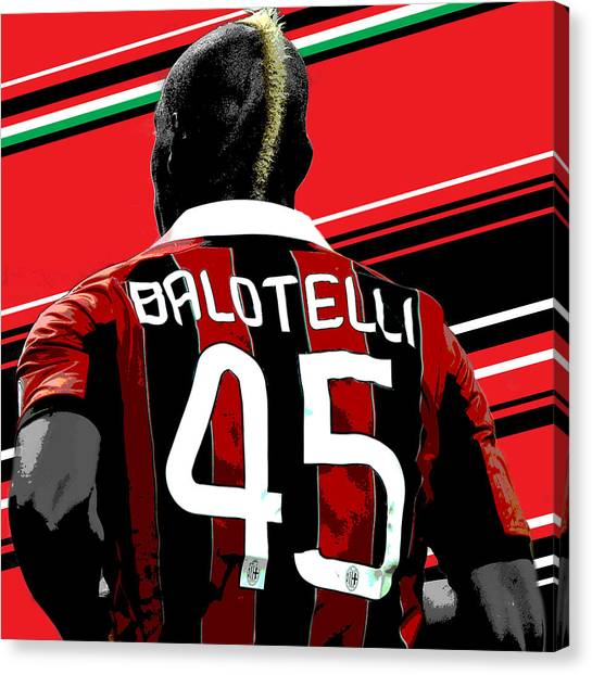 Inter Milan Canvas Print - Mario Balotelli Ac Milan Print by Pro Prints