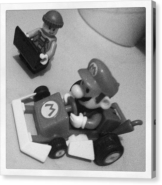 Wii Canvas Print - #mario Getting A #tuneup #kego by Katie Ball