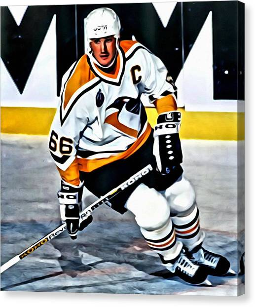 Hockey Players Canvas Print - Mario Lemieux by Florian Rodarte