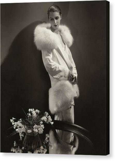 Marion Morehouse Wearing An Augustabernard Jacket Canvas Print