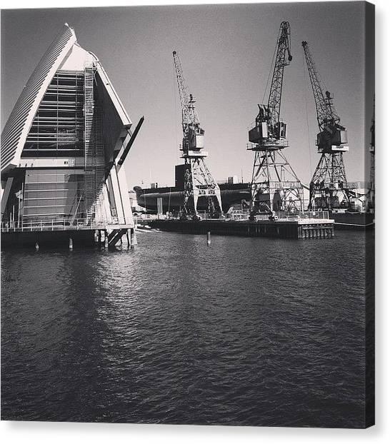 Submarine Canvas Print - #maritimemuseum #submarine #cranes by Sinead Connell