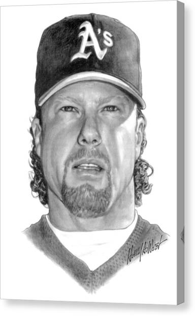 Oakland Athletics Canvas Print - Mark Mcgwire by Harry West