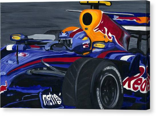 Mark Webber R B R Charging 2008  Canvas Print