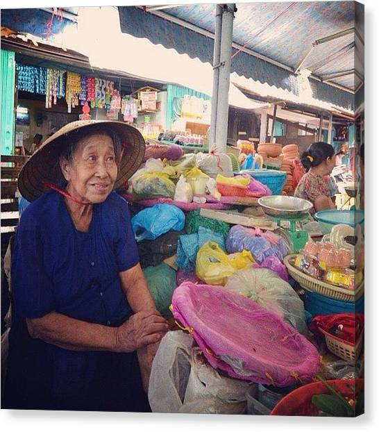 Farmers Canvas Print - Market, Danang, Vietnam #showgirl by Go Takey