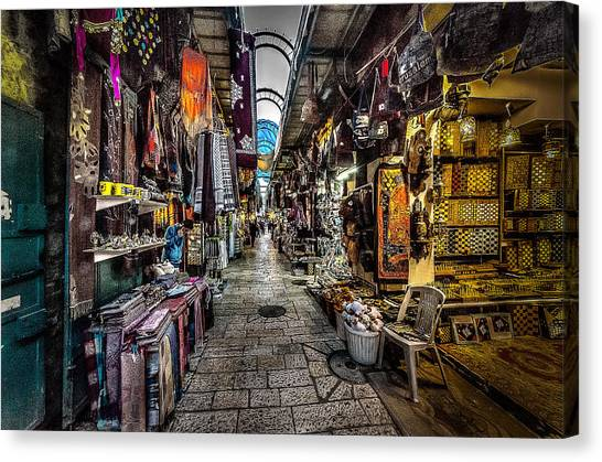 Market In The Old City Of Jerusalem Canvas Print