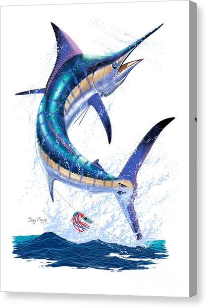 Tiger Sharks Canvas Print - Marlin Leap by Carey Chen