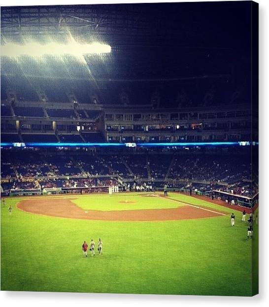 Miami Marlins Canvas Print - Marlins Park. Look At All Those People! by Hayley Beals