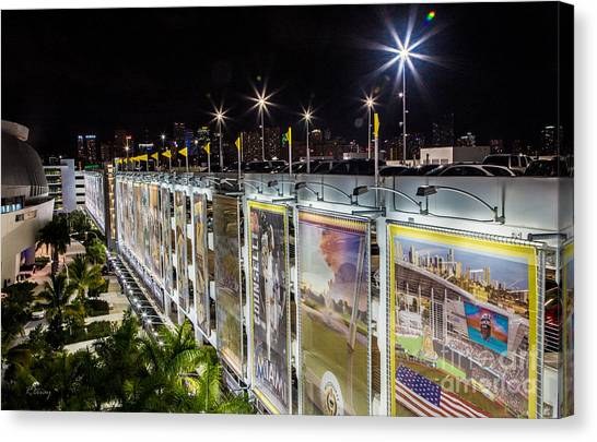 Miami Marlins Canvas Print - Marlins Park Stadium Murals Miami 13 by Rene Triay Photography