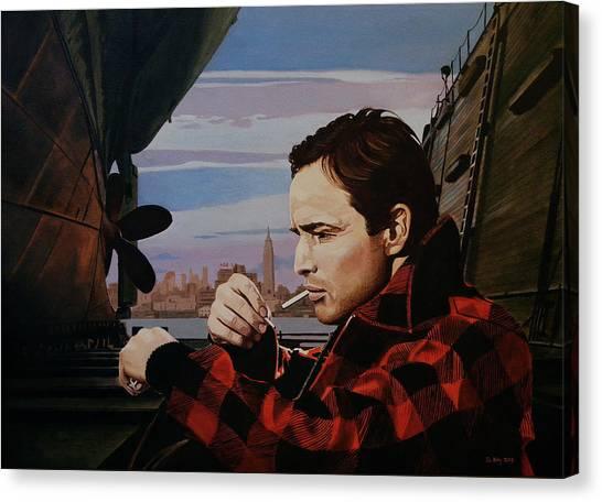 Marlon Brando - On The Waterfront Canvas Print by Jo King