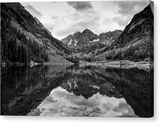 Maroon Bells - Aspen - Colorado - Black And White Canvas Print