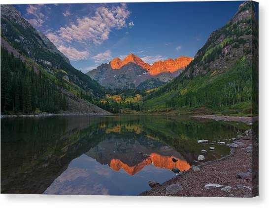 Maroon Bells At Sunrise Canvas Print