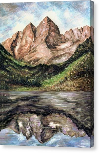 Maroon Bells Colorado - Landscape Painting Canvas Print