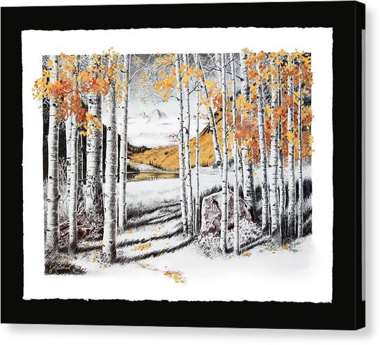Maroon Bells Gold With Border Canvas Print