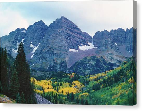 Maroon Bells In Fall Canvas Print by Adventure photo