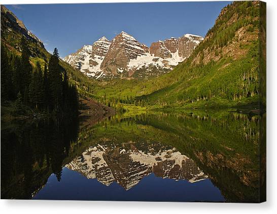 Maroon Bells Reflection Summer Canvas Print