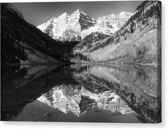 Maroon Bells Reflections - Black And White Canvas Print