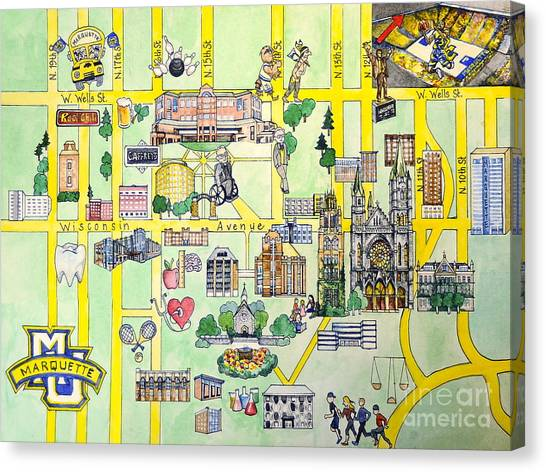Marquette University Canvas Print - Marquette Map by Marquette Map