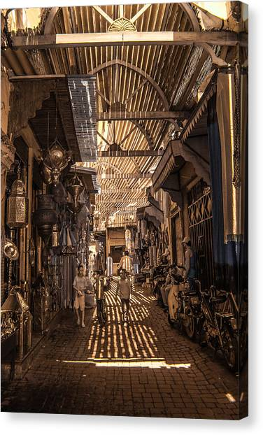 Marrakech Souk With Children Canvas Print