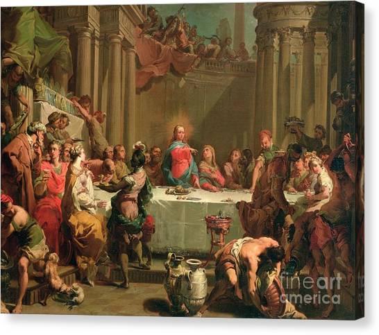 Dinner Table Canvas Print - Marriage Feast At Cana by Gaetano Gandolfi