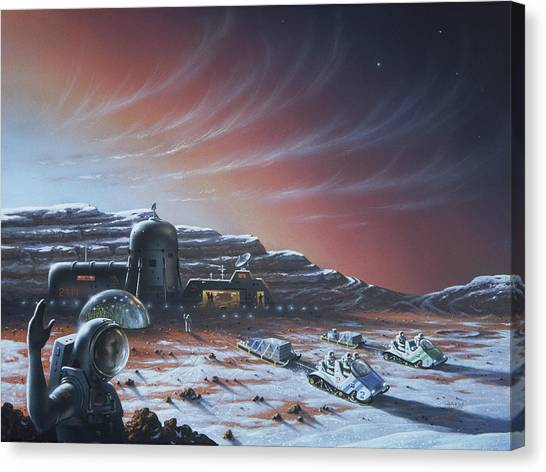Space Suit Canvas Print - Mars Base by David A. Hardy/2111 Foundation/science Photo Library