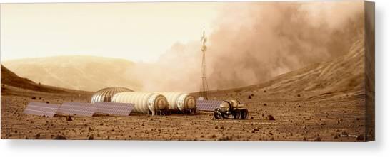 Canvas Print featuring the digital art Mars Dust Storm by Bryan Versteeg