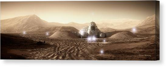 Canvas Print featuring the digital art Mars Habitat - Valley End by Bryan Versteeg