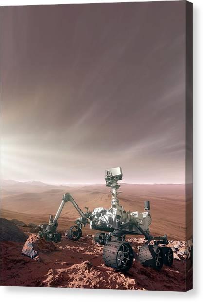 Three Dimensional Canvas Print - Mars Rover Curiosity by Detlev Van Ravenswaay