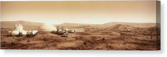 Canvas Print featuring the digital art Mars Settlement Landscape With Farm by Bryan Versteeg