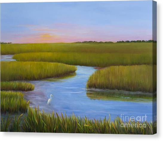 Egrets Canvas Print - Marsh At Low Water by Audrey McLeod