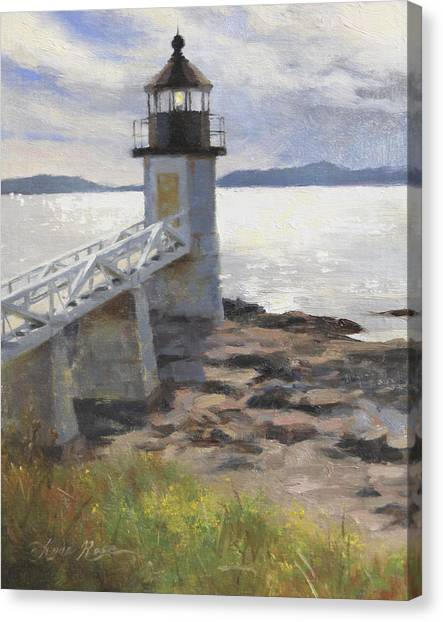 Plein Air Canvas Print - Marshall Point Lighthouse by Anna Rose Bain