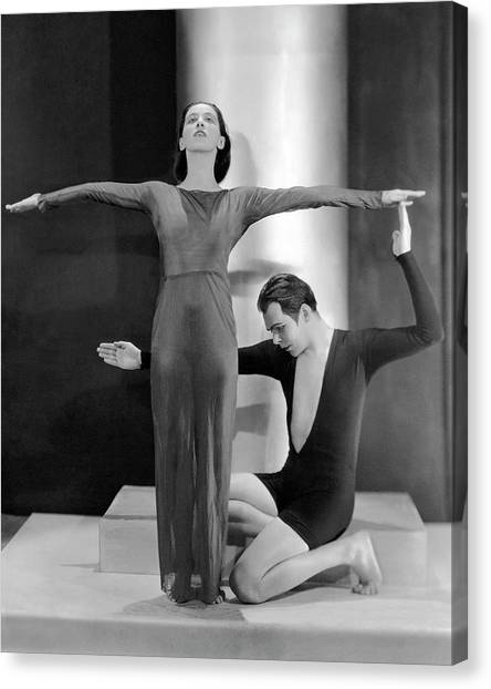 Arms Outstretched Canvas Print - Martha Graham Posing With Charles Weidman by Nickolas Muray