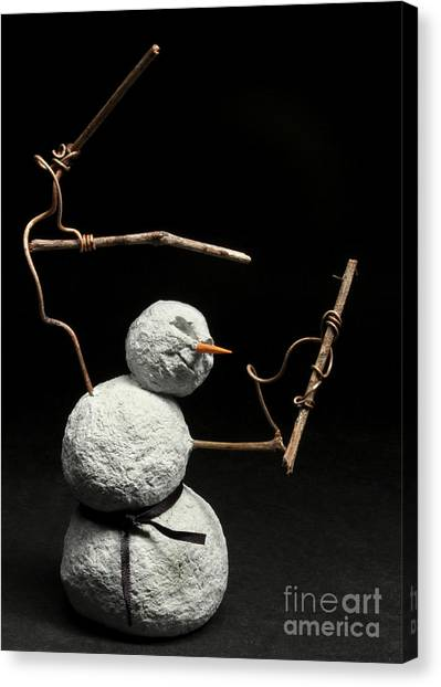 Taekwondo Canvas Print - Martial Arts Warrior Snowman Christmas Card by Adam Long