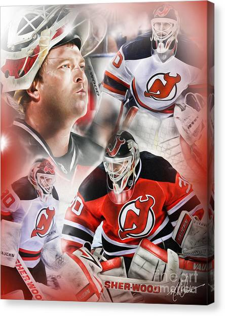New Jersey Devils Canvas Print - Martin Brodeur by Mike Oulton