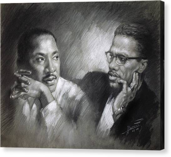 Rights Canvas Print - Martin Luther King Jr And Malcolm X by Ylli Haruni