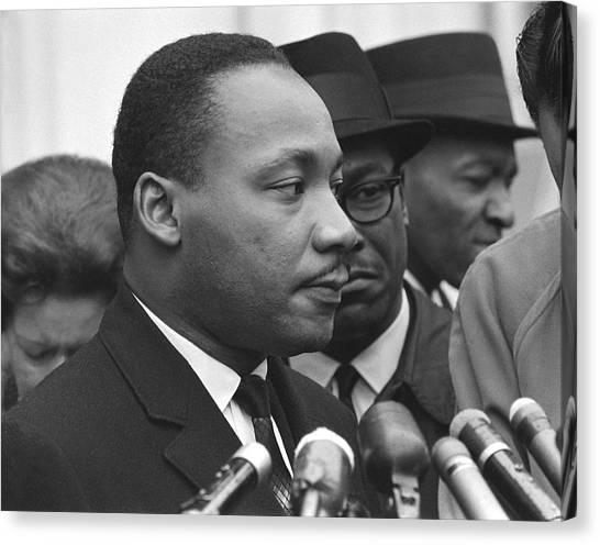 Lyndon Johnson Canvas Print - Martin Luther King, Jr by Warren K. Leffler