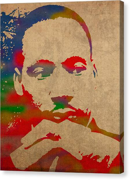 Distressed Canvas Print - Martin Luther King Jr Watercolor Portrait On Worn Distressed Canvas by Design Turnpike