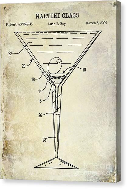 Tequila Canvas Print - Martini Glass Patent Drawing by Jon Neidert
