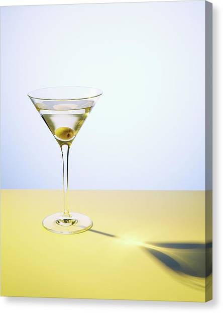 Martini In Martini Glass With Olive Canvas Print by Felicity Mccabe