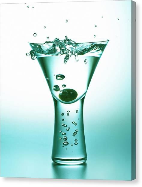 Martini With Olive Splash Canvas Print
