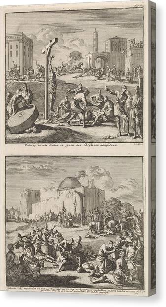 Early Christian Art Canvas Print - Martyrdom Of The Early Christians And The Martyrdom by Jan Luyken And Jacobus Van Hardenberg And Barent Visscher