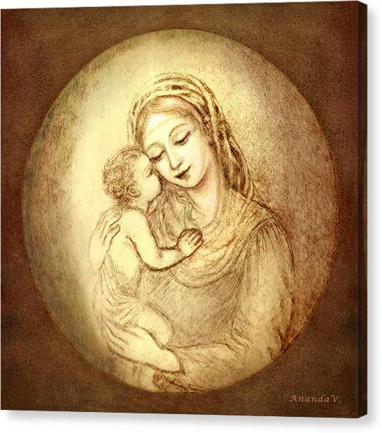 Mary And Jesus Canvas Print by Ananda Vdovic
