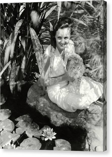 Mary Astor Holding A Cat Canvas Print