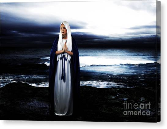 Orthodox Art Canvas Print - Mary By The Sea by Cinema Photography