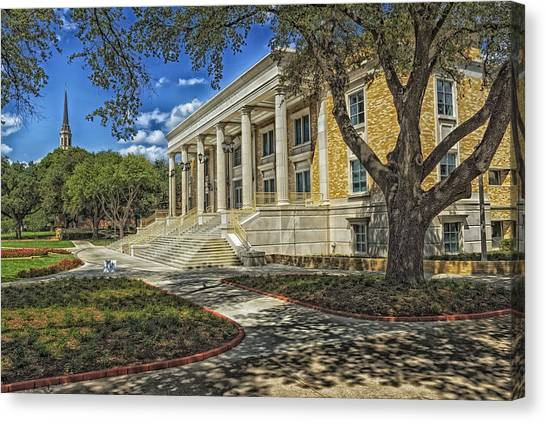 Texas Christian University Canvas Print - Mary Couts Burnett Library - Tcu by Mountain Dreams
