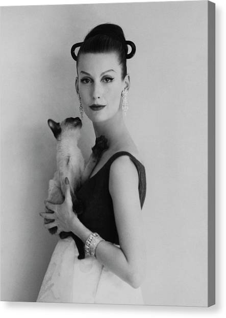 Mary Jane Russell Holding A Cat Canvas Print